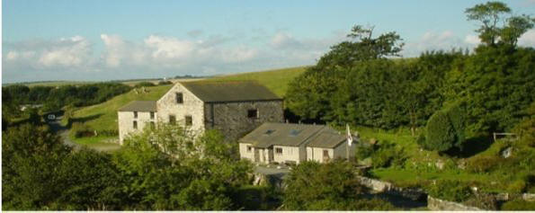 Gleaston Watermill visitor attraction and Dusty Miller's tea shop from north
