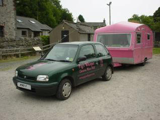 Pig's Whisper pink pig rig from Gleaston watermill on tour from the lake district peninsulas